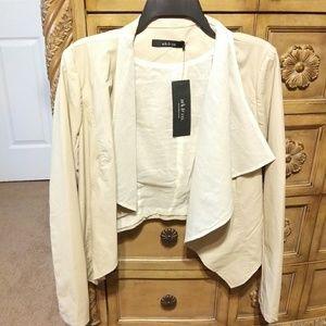Ark & Co. Open Leather Drape Front Jacket Cream